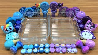Mixing Clay and Beads Into Clear Slime ! Blue Vs Purple Special Series Part 10 Satisfying Slime