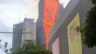 High-rise building in NW China engulfed in flames