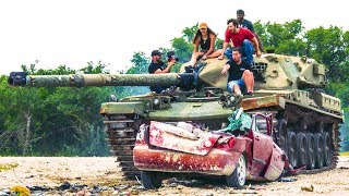 DESTROYING FRIEND'S CAR WITH A TANK & SURPRISING HIM WITH A NEW ONE!