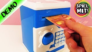 GELDAUTOMAT FÜR ZUHAUSE FRISST GELDSCHEIN - Tresor für das Kinderzimmer | elektronische Spardose
