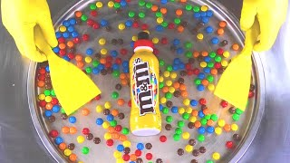 Ice Cream Rolls   how to make colorful m&m´s rolled Ice Cream with mms m and m   m&m's ASMR Colors