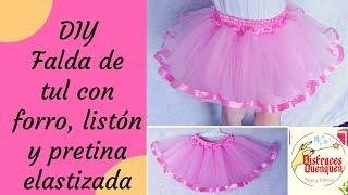 DIY. Falda De TUL Con Forro, Listón Y Pretina Elástica. Tutus Para Niña. Tulle Skirt With Ribbon.