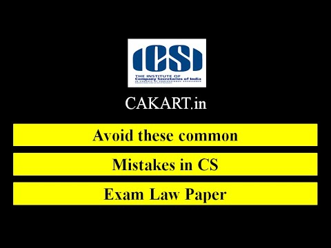 CS Executive Law paper - Avoid these most common mistakes