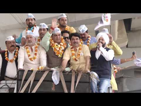 AAP roadshow in support of West Delhi candidate Adv Balbir Singh Jakha