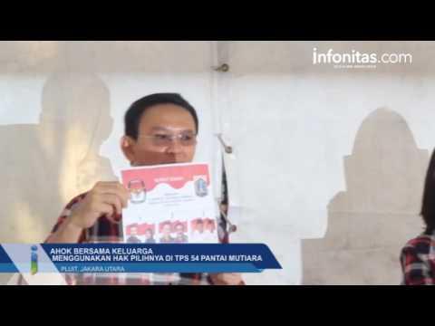 Cagub DKI Jakarta Basuki Tjahaja Purnama Menggunakan Hak Pilihnya di TPS 54 Pantai Mutiara