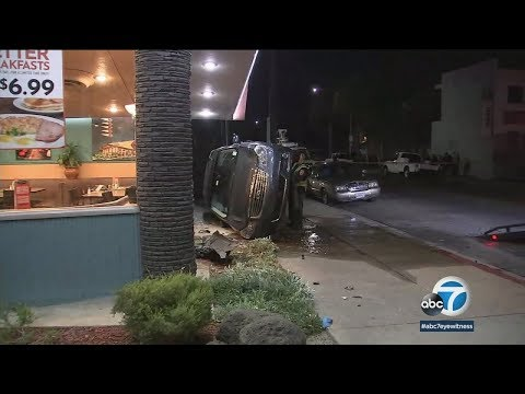 Chase suspect crashes into NORMS restaurant in Huntington Park | ABC7