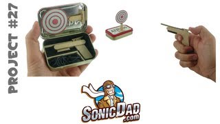 How To Make A Miniature Rubber Band Gun AND Carrying Case - SonicDad Project #27