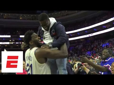 Joel Embiid celebrates with Kevin Hart after 76ers win first-round series over Heat | ESPN
