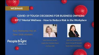 COVID 19 TDBO EP17 Mental Wellness – How to Reduce Risk in the Workplace Webinar Recording
