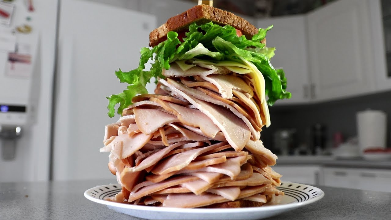 The Largest Sandwich I've Ever Made! (Turkey & Swiss) thumbnail