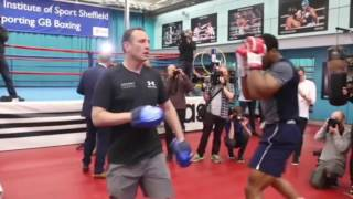 ANTHONY JOSHUA took part in an open training session before Wladimir Klitschko fight