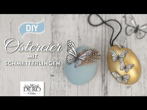 Ostereier mit Schmetterlingen - Hängende Osterdeko selbst gemacht