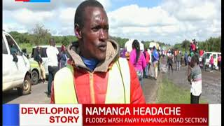Floods wash away Namanga Road section forcing motorists to rely on locals