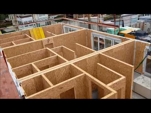 Holz Haus Construction - Montage Haus-KIT Dreireihenhaus mit Satteldach - TEIL 1/2