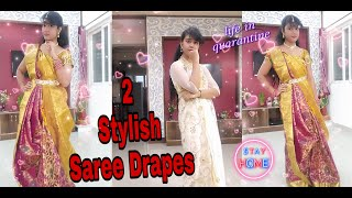 #HowTo Style A Saree In Different Ways || Maharani Style Saree Drape in less than 10min ||