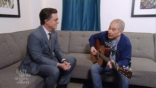 <b>Paul Simon</b> And Stephen Colbert Are Feelin Groovy