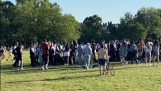 video: Watch: Police break up brawl involving hundreds of young people on London's Hampstead Heath