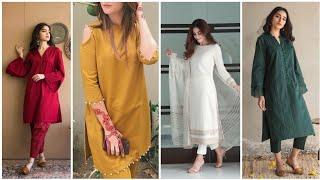 One Colour Casual Wear Dress Designs Ideas