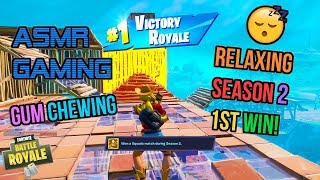 ASMR Gaming 😴 Fortnite Relaxing 1st Win Season 2! Gum Chewing 🎧🎮 Controller Sounds + Whispering 💤