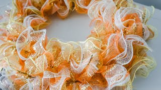 DIY: Ruffle Deco Mesh Fall Wreath || Dollar Tree Under $10