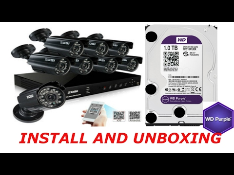 ZOSI 8Ch Video Security System with 8x Camera unboxing and setup