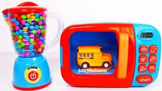 Learn Colors with Vehicles for Kids Microwave and Blender