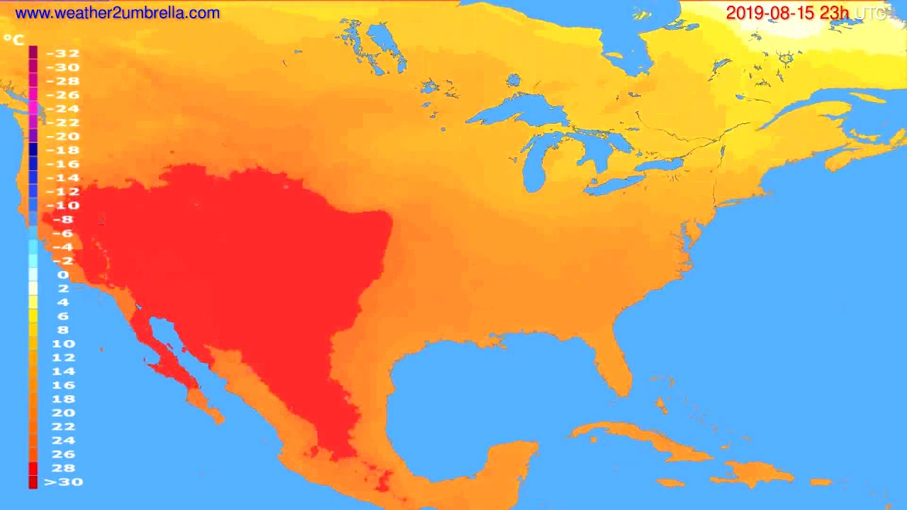 Temperature forecast USA & Canada // modelrun: 12h UTC 2019-08-12