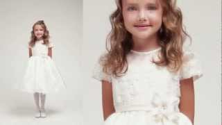 Ivory Lace Organza Flower Girl Dress