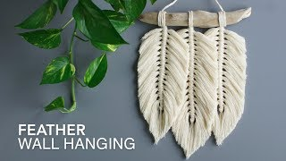 DIY Macrame 3 Feather Wall Hanging Tutorial