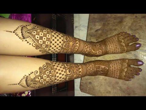 simple leg mehndi design ideas by monika
