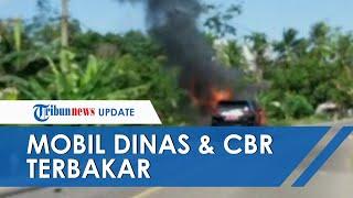 Detik-detik Mobil Dinas Sekda Muara Enim Terbakar Bersama Honda CBR seusai Bertabrakan