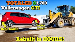 I Bought a Wrecked 6 Speed Manual VW GTI for $1,700 at Auction and Rebuilt it in a Few Hours!