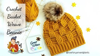 Crochet  Basket Weave Stitch Beanie / Beginner Friendly Hat Tutorial