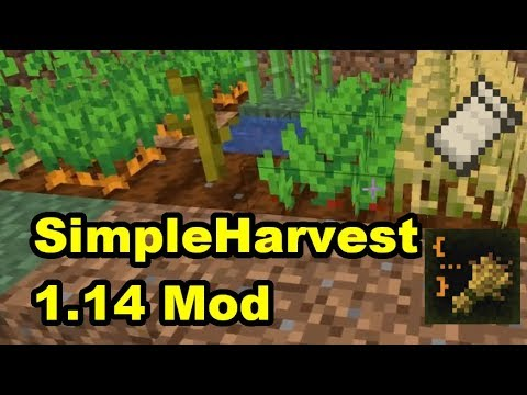 SimpleHarvest Mod for Fabric Minecraft 1.14 Demonstration and Review