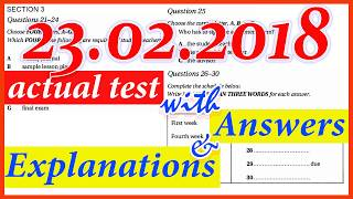IELTS LISTENING PRACTICE TEST 2018 WITH ANSWERS | 23.02.2018