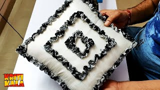 DIY Easy Cushion Covers & Pillow Covers Cutting And Stitching   How To Make A Ruffle Cushion Covers