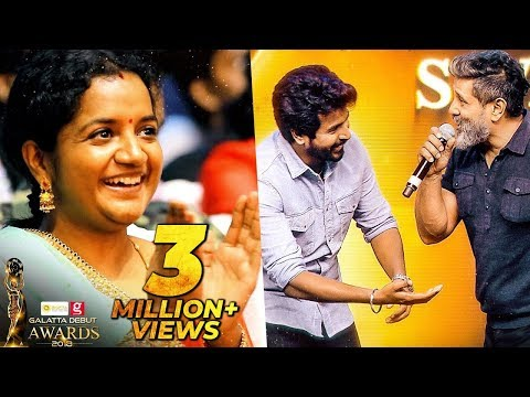 Chiyaan Vikram and Sivakarthikeyan Funny on Stage Moments    Galatta Debut Awards 2018