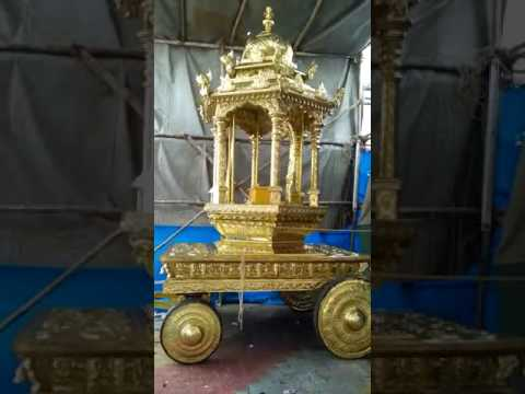 12 3/4 Ft Temple Chariot Sculptured In Bronze Sheet