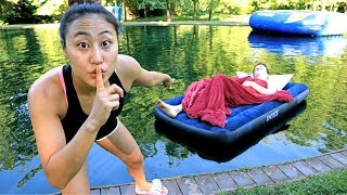 PAPA JAKE WAKES UP IN POND PRANK!!