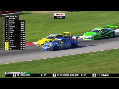 Porsche GT3 Cupミッドオハイオの決勝レース1の模様を55分にまとめたハイライト動画