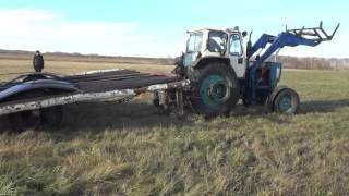 трактор юмз, вывозка сена