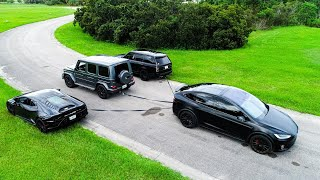 Tug of War Tesla vs. Lambo, Ranger Rover, and G63