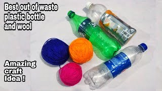 diy-best-out-of-waste-plastic-bottle-and-woolcool-craft-idea