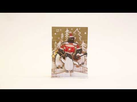 Penguin band pop-up musical Christmas card