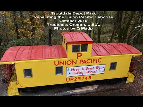 Troutdale Oregon Union Pacific Caboose New Paint Oct-2016