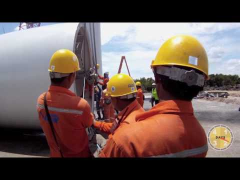 Kroll K760L tower crane installing windfarm in South Thailand