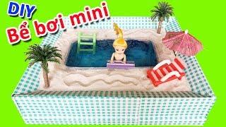 DIY Miniature Dollhouse - Làm HỒ BƠI MINI CHO BÚP BÊ | BỂ BƠI ĐỒ CHƠI CHO BARBIE (Chim Xinh)