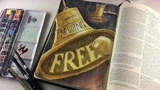 Bible Journaling Romans 6, Interleaved Bible - I'm Going Free