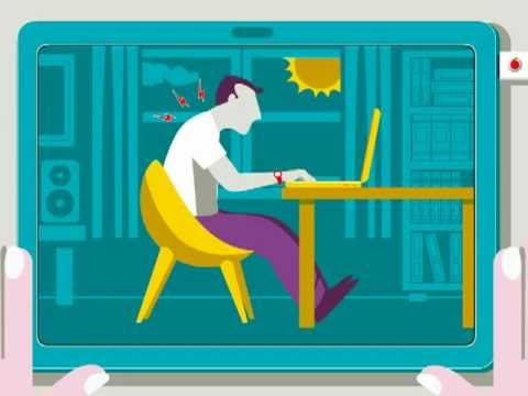 Screenshot of video: How to sit when using a laptop - good general advice video