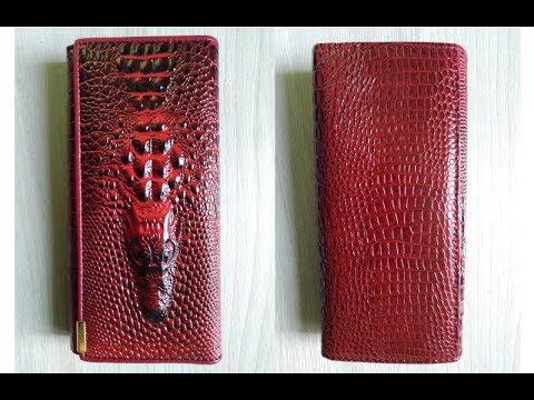 Женский кошелек с 3D тиснением крокодила под крокодиловую кожу. Длинный клатч